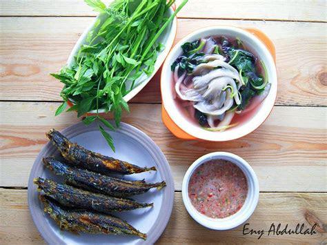 sayur tumis air bayam  cendawan tiram ikan selayang