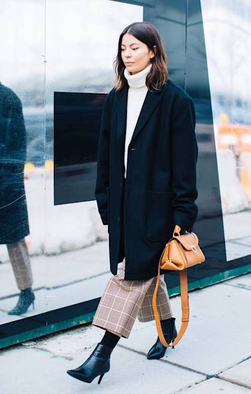 Le Fashion Blog Winter Street Style Cream Turtleneck Sweater Black Oversized Blazer Plaid Cropped Pants Black Stiletto Heel Boots Via Sandra Semburg