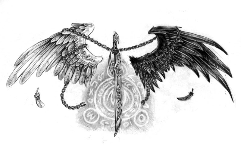 Black White Angel Wings Sword Tattoo Design Tattoos Book 65000