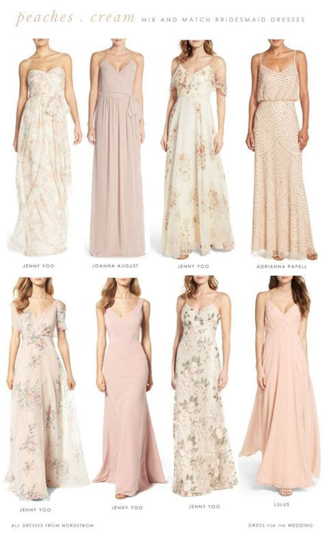 Floral, Peach, Blush and Cream Bridesmaid Dresses to Mix