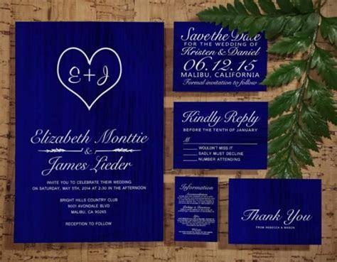 Royal Blue Country Wedding Invitation Set/Suite, Invites