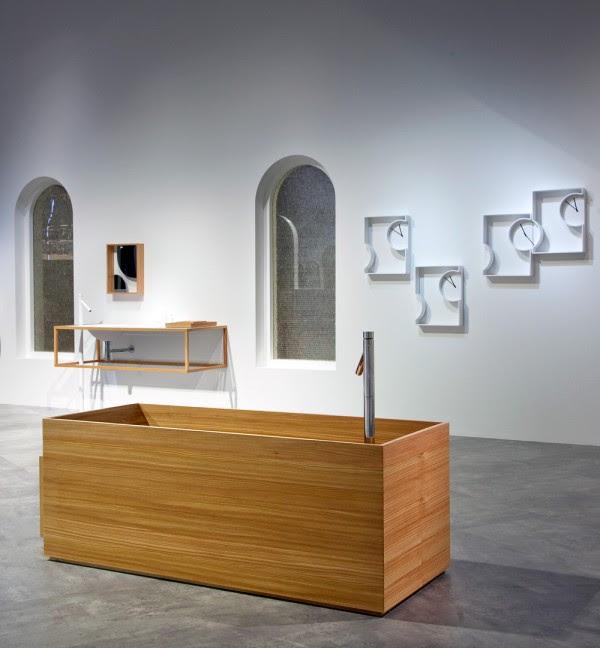 Nendo Okisato concrete and wood organic white bathroom