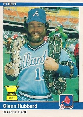 Baseball Card Bust Glenn Hubbard 1984 Fleer