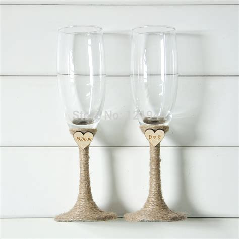 2017 Wholesale Personalized Wedding Glasses Set, Rustic