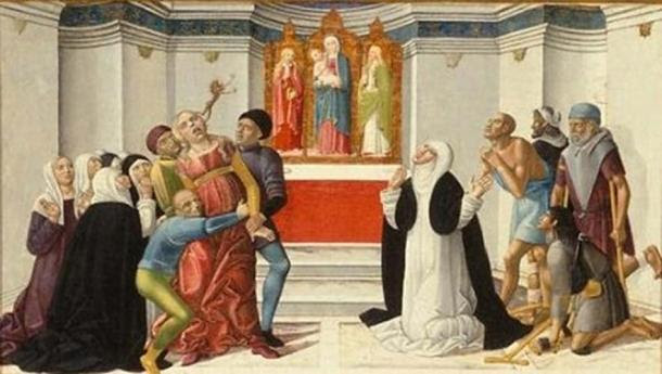 St. Catherine of Siena Exorcising a Possessed Woman.