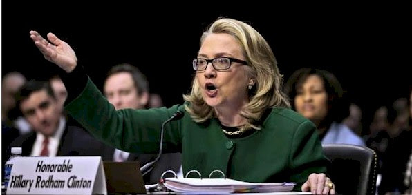 Hillary Clinton testifying on the Benghazi attack