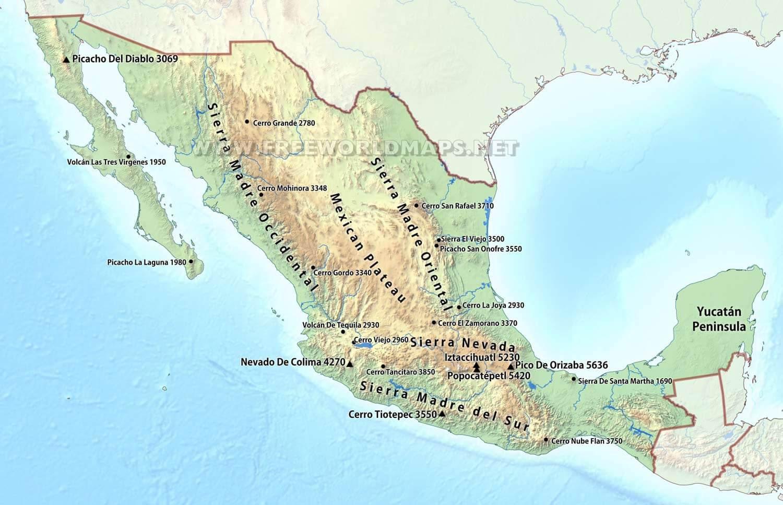 mexico mountains map