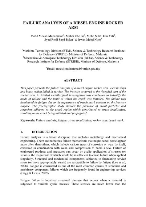 (PDF) Failure Analysis of A Diesel Engine Rocker Arm