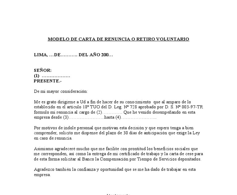 Modelo De Carta De Renuncia Peru Exoneracion Los 30 Dias