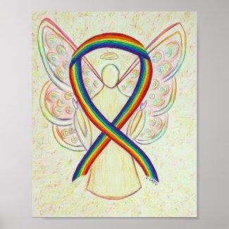 Rainbow Awareness Ribbon Angel Poster Art Print