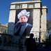 An image of President Hamid Karzai of Afghanistan on a building in the center of Kabul, on Tuesday.