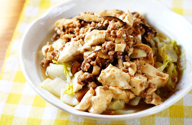 Mun Tahu with Sawi Putih - Tofu, Minced Meat & Mushrooms in Oyster Sauce with Chinese Cabbage