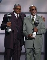 Tommy Smith and John Carlos pick up their Arthus Ashe Award for Courage