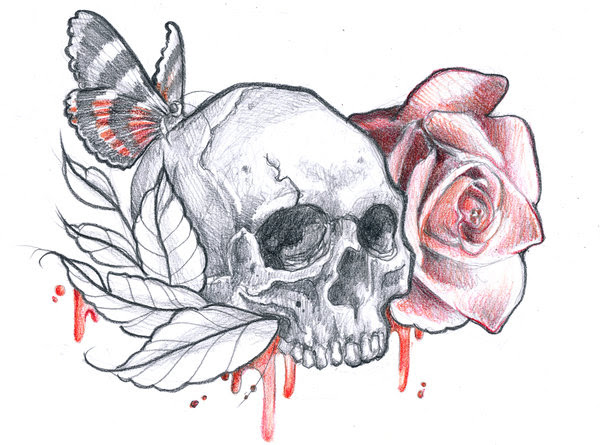 Grey Ink Skull And Moth With Rose Tattoo Design