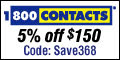 $10 off $100 purchase today at 1800CONTACTS.com!