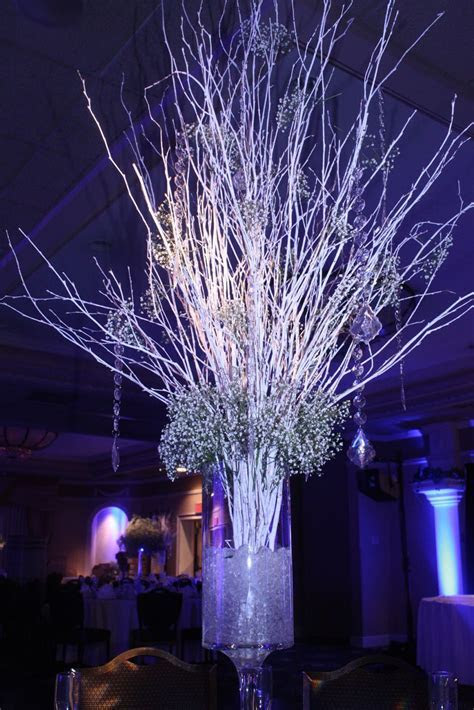 White Birch Branches Centerpieces   Aunt Faye's party