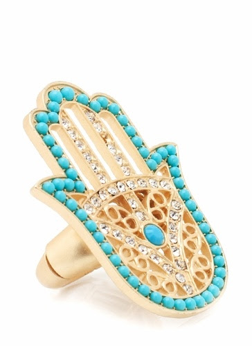beaded hamsa ring