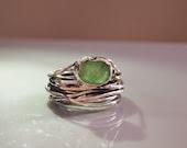 Emerald Gemstone Statement Ring, Modern Abstract Third Eye, Green Meditation Ring,  Sterling Silver,  Open from size 8 to size 9 - serpilguneysu