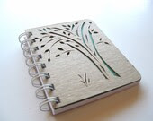 Green Tree Nature Inspired Mini Hand Carved Journal Recycled Paper Spiral Notebook Indie Leaf Green Summer Gift Idea For Her For Him - thenaturewalk