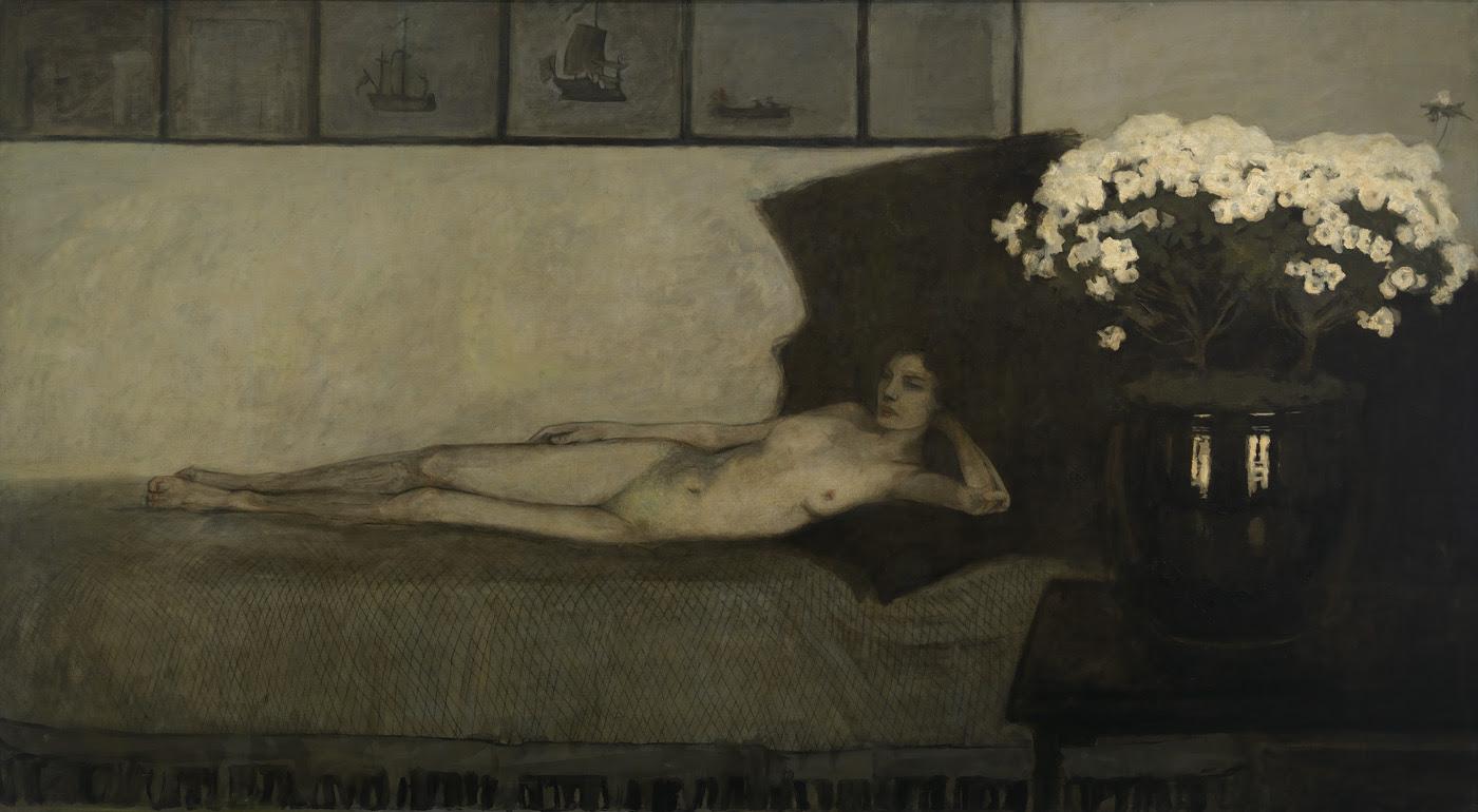 "Romaine Brooks, ""Azalées Blanches (White Azaleas)"" (1910), oil on canvas, Smithsonian American Art Museum, gift of the artist"