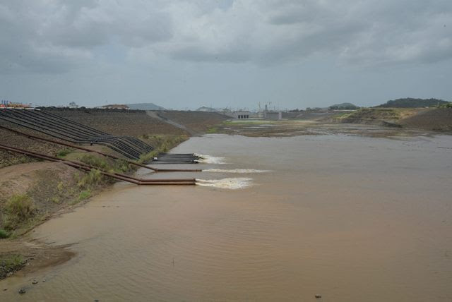 The flooding of the new locks of the expanded Panama Canal began in Cocolí, on the Pacific side. The monumental project is 90 percent complete, and the expanded canal should be operating by early 2016. Credit: Courtesy of the Panama Canal Authority