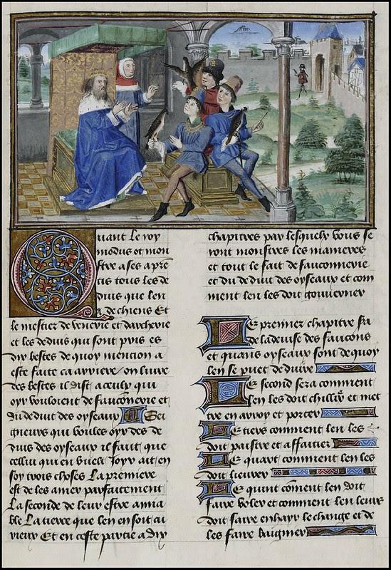 15th century illuminated manuscript miniature: Henri de Ferrières, Les Livres du roy Modus et de la royne Ratio 128