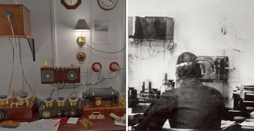 A Sala Marconi permitia que os passageiros enviassem mensagems. No Titanic II, ela será apenas uma homenagem ao navio original (Foto: Divulgação)
