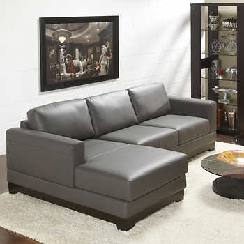Galaxy Grey Top Grain Leather Sofa with Left Hand Facing ...