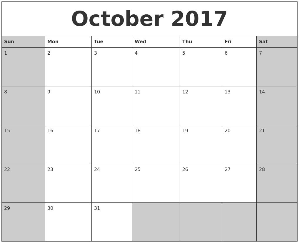october 2017 calanders