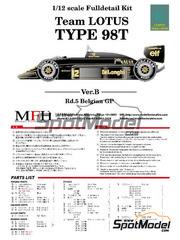 Maqueta de coche 1/12 Model Factory Hiro - Lotus Renault 98T John Player Special Nº 11, 12 - Gran Premio de Belgica 1986 - kit multimaterial