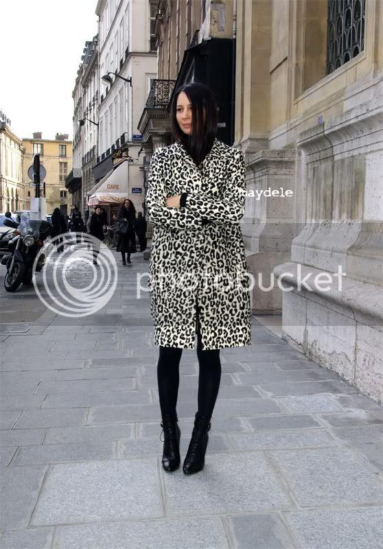 Mélanie Huynh wearing Chloé spring 2010 animal printed coat