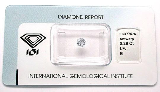 Foto 1, Diamant, IGI!!!, Brillant 0,29ct Lupenrein River Juwel!, D5621