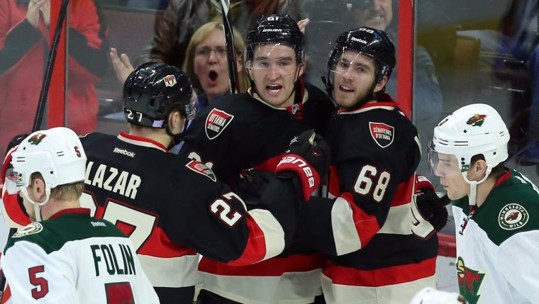 Curtiz Lazar, Mark Stone et Mike Hoffman
