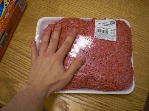 Ground beef, with size comparison