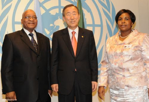 Republic of South Africa President Jacob Zuma with Ban Ki-moon, Secretary General of the United Nations and Maite Nkoana-Mashabane, the South African Minister of International Relations. by Pan-African News Wire File Photos