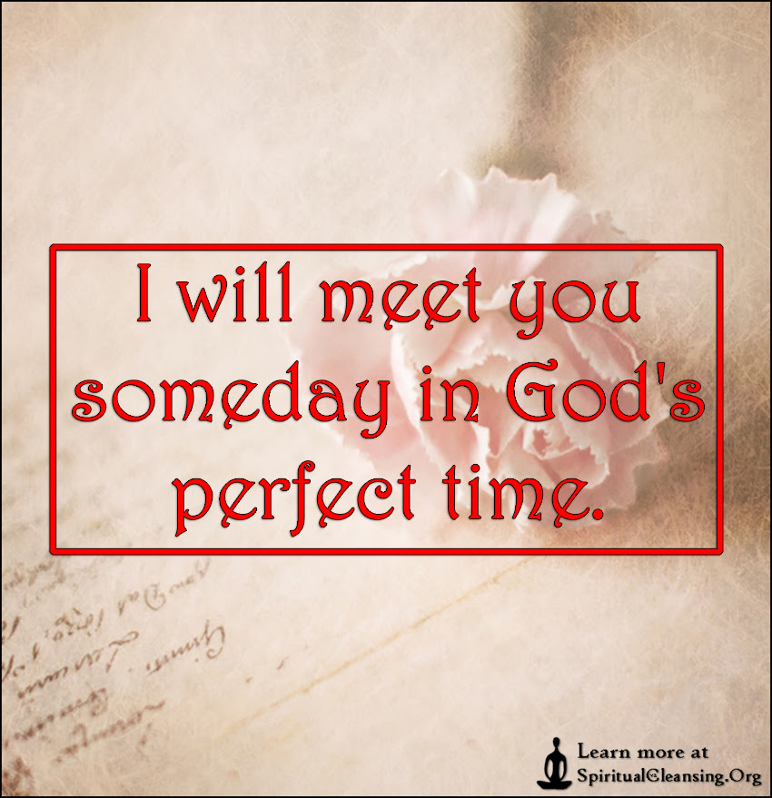 I Will Meet You Someday In Gods Perfect Time Spiritualcleansing