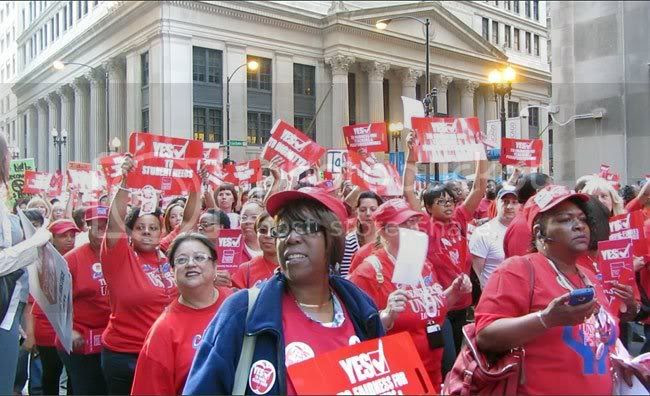 The CTU marches past Chicago's financial center on May 23, 2012