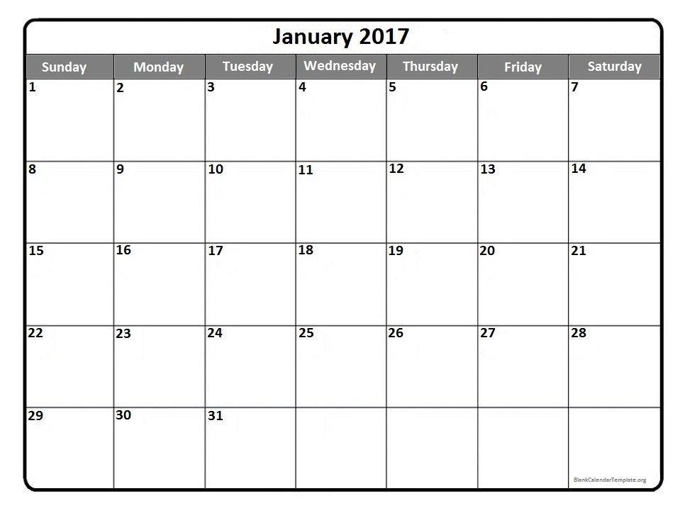 January 2017 printable calendar template | 2017 Printable ...