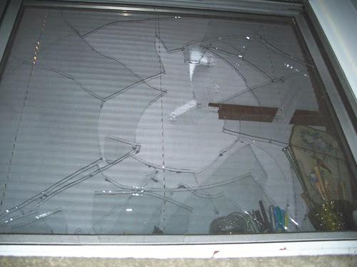 the broken window!