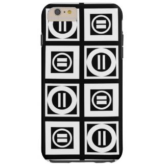 White on Black Geometric Equal Sign Pattern Tough iPhone 6 Plus Case