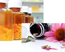 Photographs of pill bottles and pills