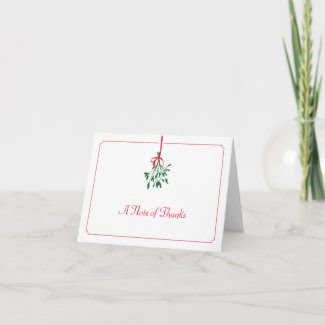 Christmas Mistletoe Thank You Card