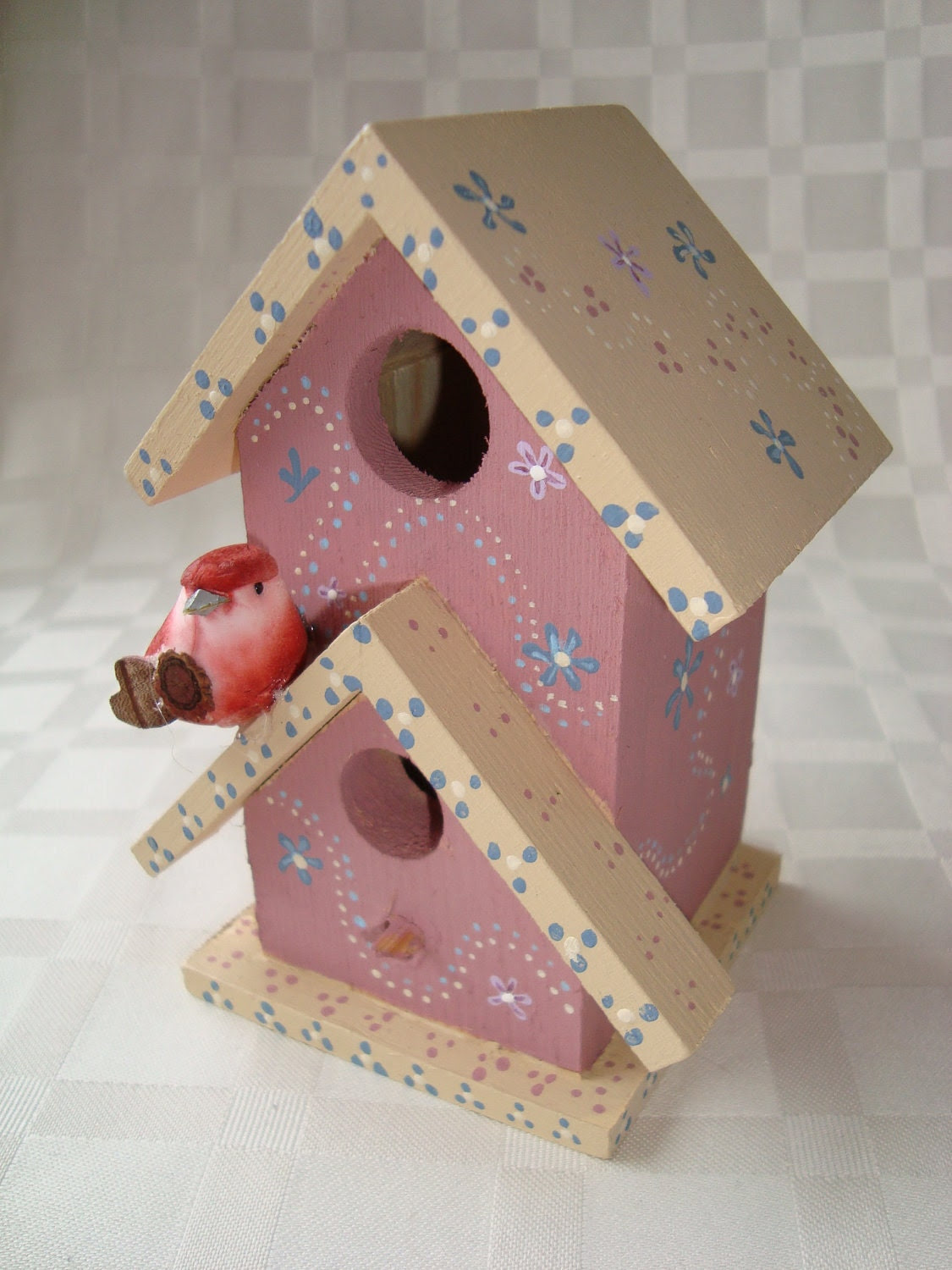 Peachy Pink Miniature Bird House with Red Bird