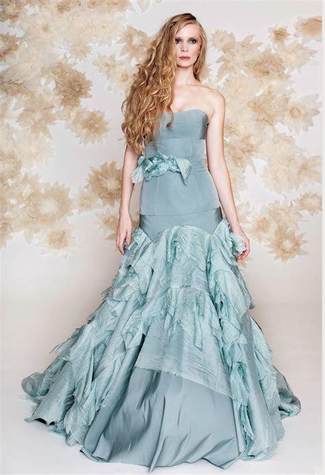 blue wedding dress drop waist mermaid by tara latour.full