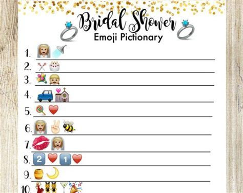 Bridal Shower Pictionary Emoji Game. Bridal Shower Game