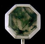 Carter, Gough Moss Agate stick pin. (J9000)