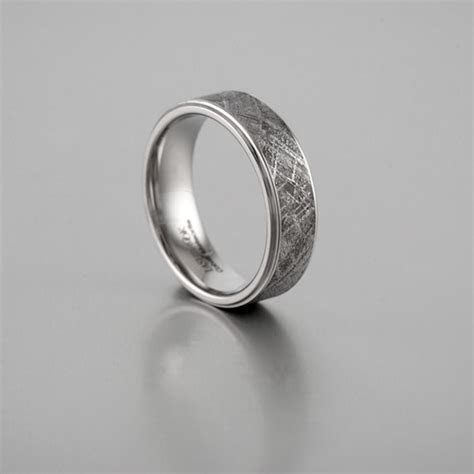 Textured Meteorite and Cobalt Wedding Band (7mm)   Shane Co.