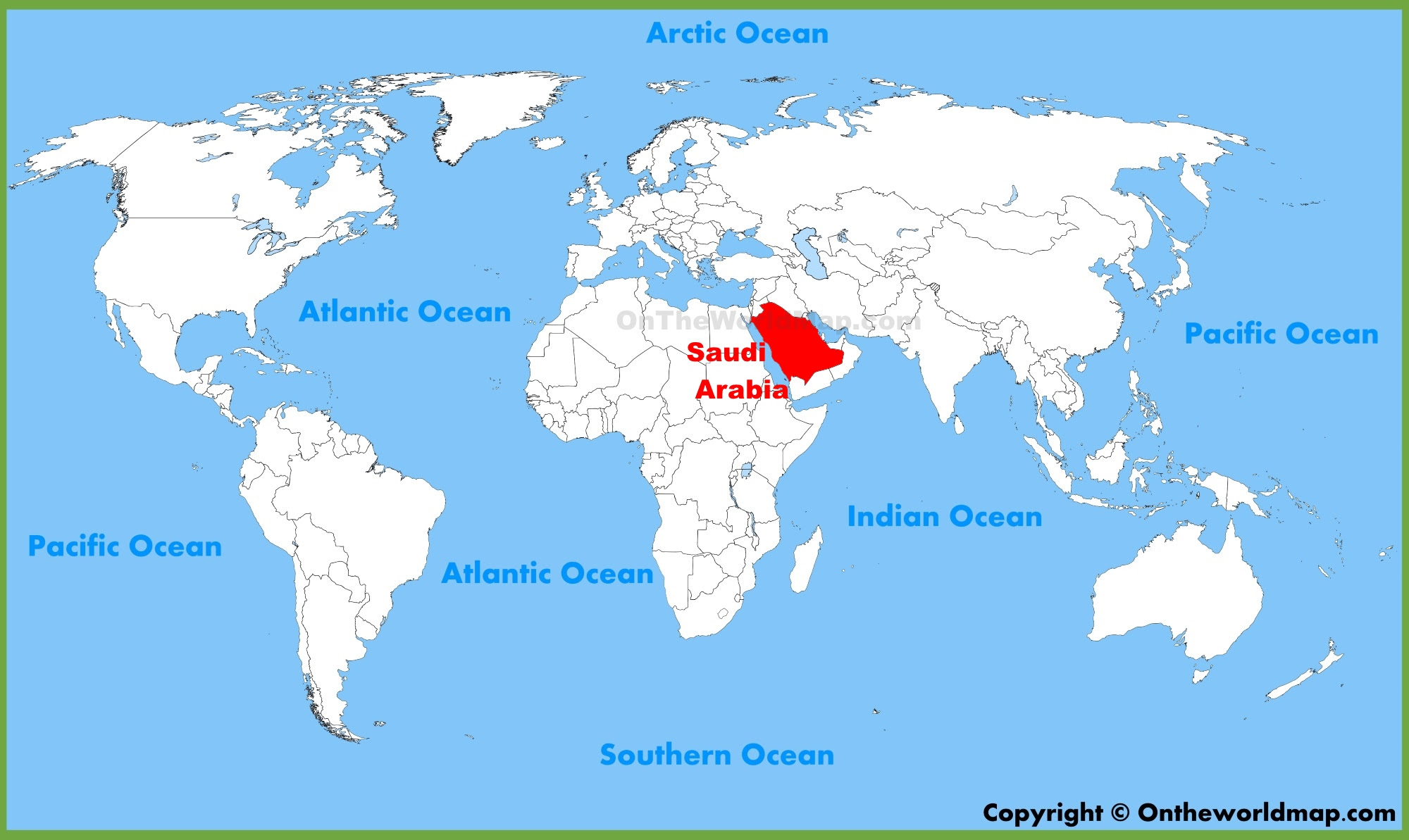 Saudi Arabia On World Map Saudi Arabia Location On World Map | Campus Map