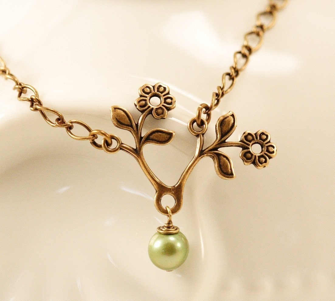 Green Tea Pearl Bloom Brass Necklace