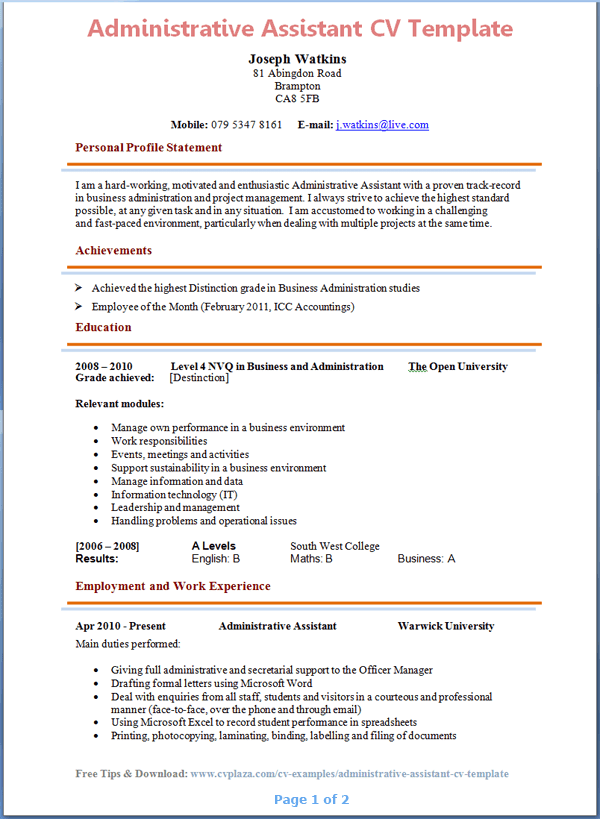 Administrative Assistant CV Template Page 1